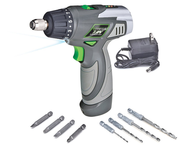 Genesis GLSD72A Lithium-Ion 2 Speed Screwdriver, 7.2 Volts