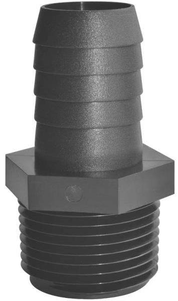 "Green Leaf A 3838 P Threaded Poly Adapter , 3/8"" mpt x 3/8"" barb"
