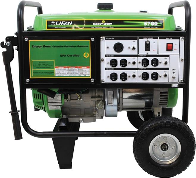 Lifan ES5700 Energy Storm Gasoline Powered Portable Generator, 5000 Watt