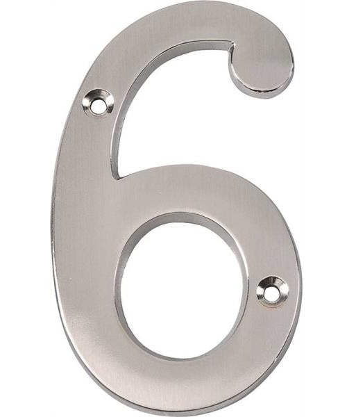 Prosource N-Z046SN-PS House Numbers #6, Zinc Die-Cast