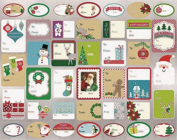 Santas Forest 68113 Christmas Gift Tag Stickers, 120 Design
