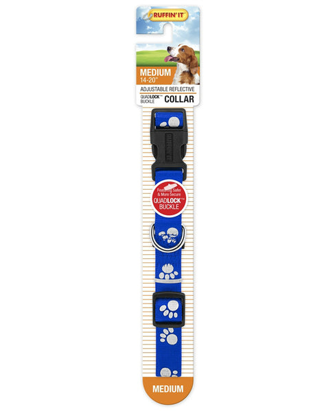 Westminster Pet 7N39242 Ruffin' It Adjustable Paw Print Medium Reflective Dog Collar, Nylon, Assorted Color, 14 - 20""