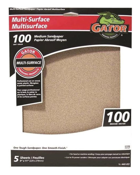 "Gator 4441-012 Multi-Surface Sanding Sheet, 9"" x 11"", 100 Grit"