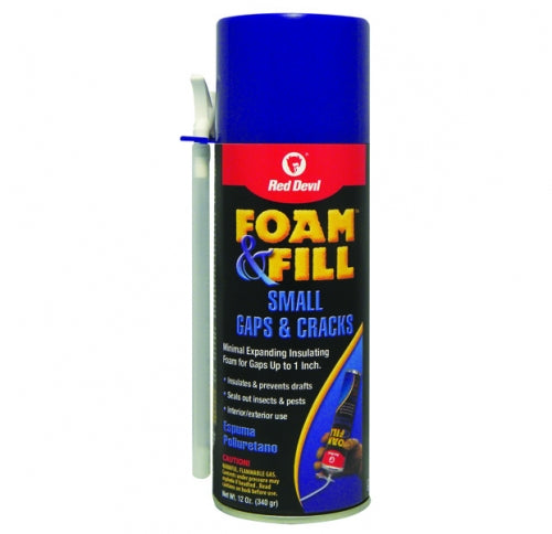 Red Devil 0913 Foam & Fill Minimal Expanding Polyurethane Sealant, 12 Oz