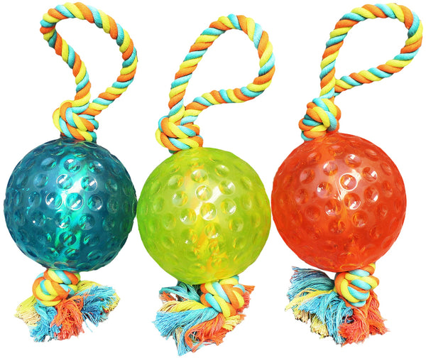 "Chomper WB15527 TPR Ball & Rope Tug Dog Toy, 5"", Assorted Colors"