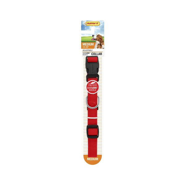 Westminster Pet 7N31142 Ruffin' It Adjustable Dog Collar, Nylon, Red, 14 - 20""