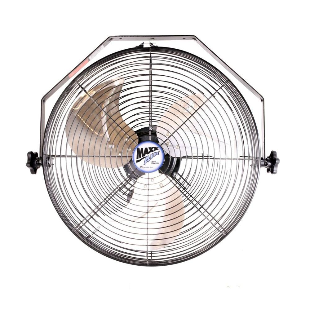 MaxxAir HVWM-18 High Velocity Wall Mount Fan, Black, 18""