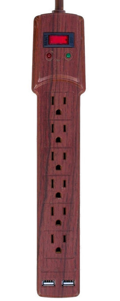 Invisiplug DO004 6-Outlets Deluxe Surge Protector, Dark Oak