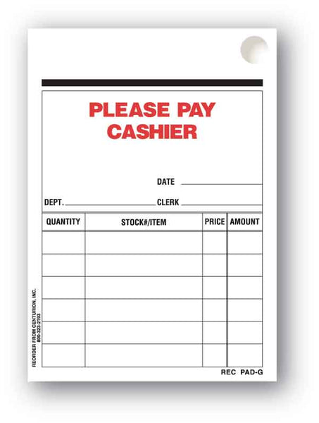 Centurion REC PAD-G Please Pay Cashier Receipt Pad