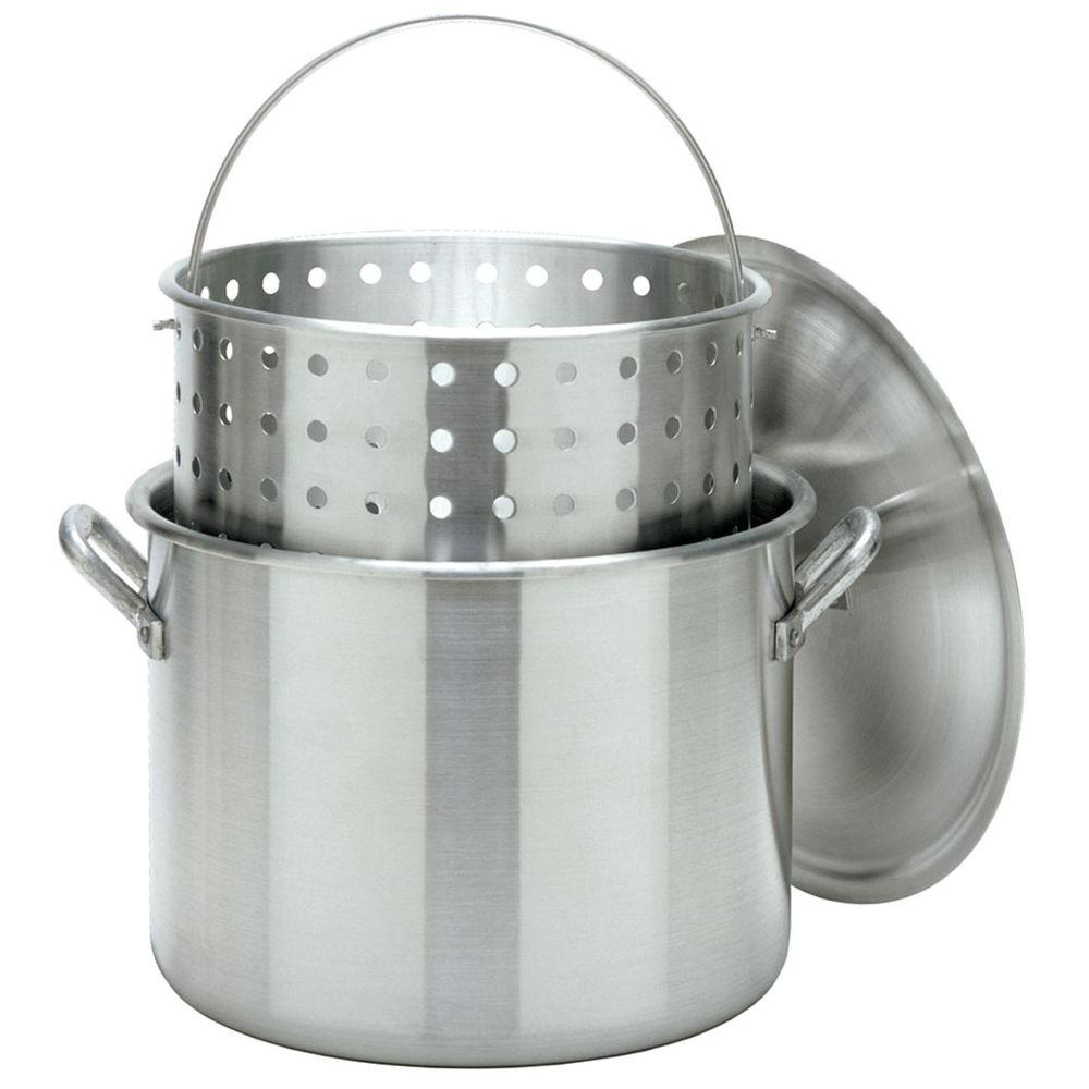 Bayou Classic 8000 Aluminum Stock Pot with Perforated Basket & Lid, 80 Qt
