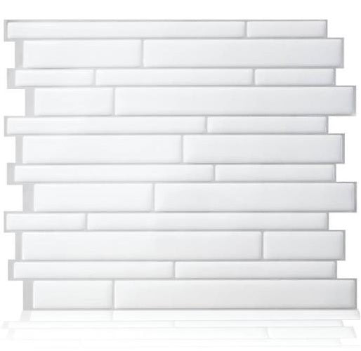 Smart Tiles SM1083-6 Milano Wall Tiles, Blanco, 6/Pack