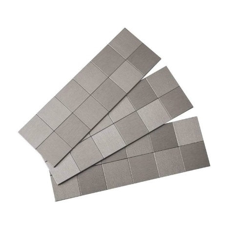 Aspect F94-50 Stainless Steel Square Matted Wall Tiles, Brushed Stainless