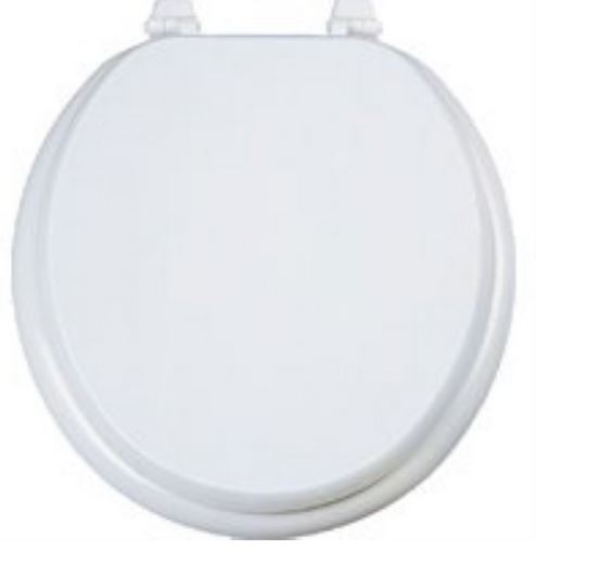 "Mintcraft T-17WM-3L Wood Composite Round Toilet Seat, 17"", White"