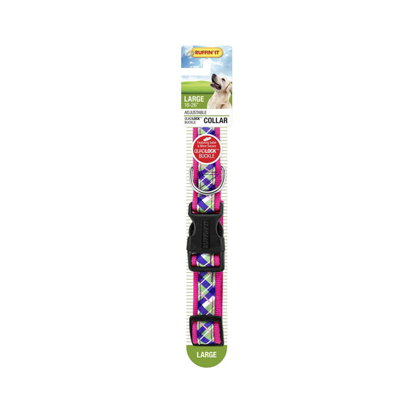 Westminster Pet 7N39748 Ruffin' It Plaid Ribbon Dog Collar, Assorted Color, 18 - 26""