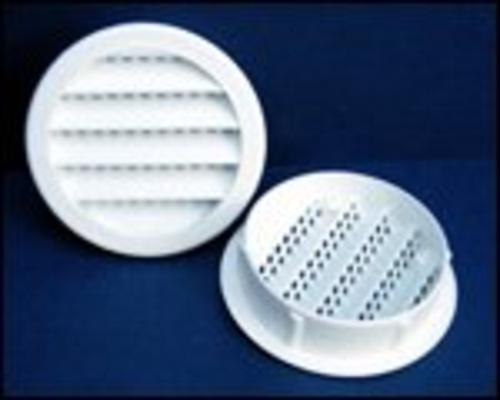 "Maurice Franklin PLW100-1"" Round Plastic Louver w/ Insect Screen, White, Bag/6"