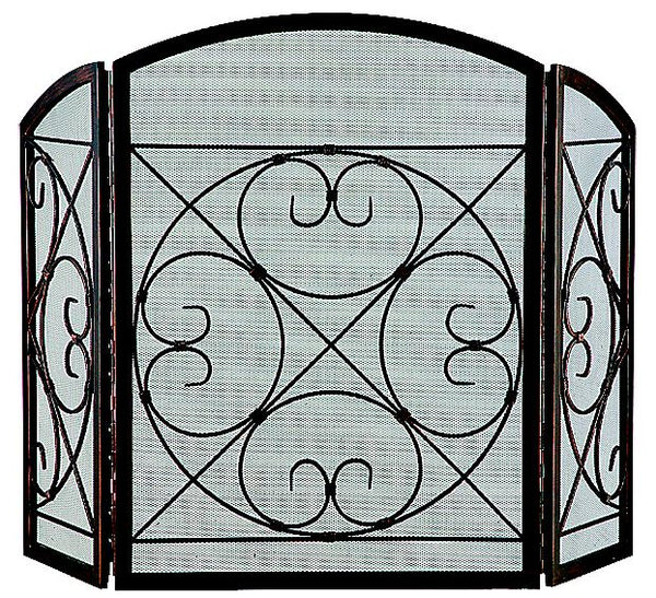 Homebasix CPO90502AC3L 3 Panel Fire Screen, Antique Bronze