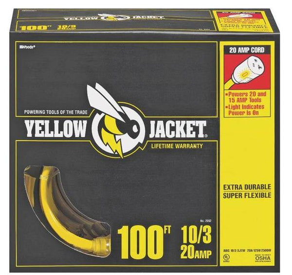 Yellow Jacket 2992 Extension Cord, 100', Yellow