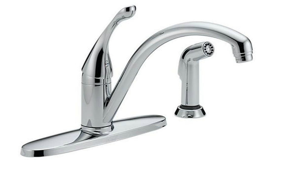 Delta 440-DST Collins Single Handle Kitchen Faucet With Spray, Chrome