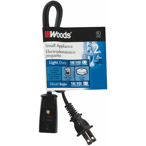 Woods 0293 Mini Plug Appliance Cord, 2', Black