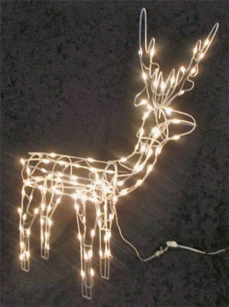 "Holiday Basix 13488 3D Christmas Pre-Lit Wire Frame Standing Buck Deer, 48"" H"