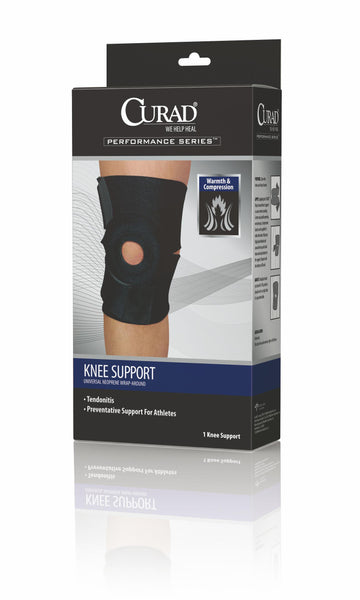 "Curad ORT23260D Universal Knee Support, 12-21"", Black"