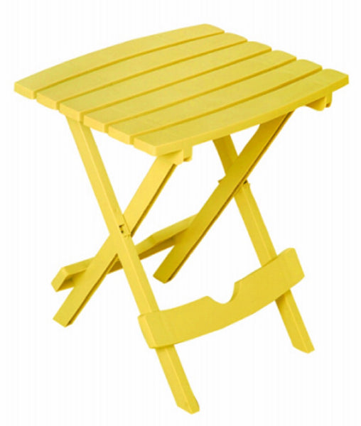 Adams 8500-19-3735 Portable Resin Side Table Quik Fold, Yellow