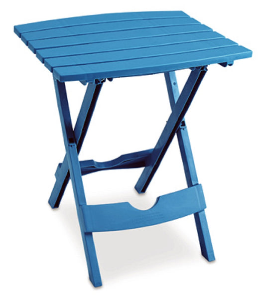 Adams 8510-21-3734 Quik Fold Portable Resin Side Table, Pool Blue
