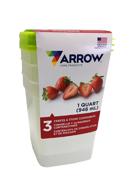 Arrow 04405 Freezer Storage Container Set (3-Pack), Assorted Colors, 1-Quart