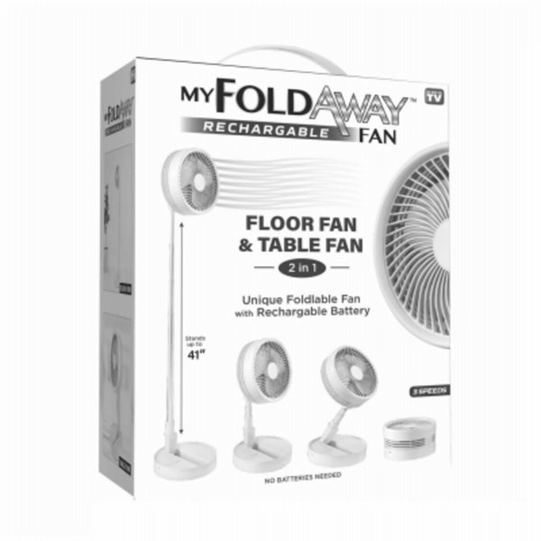 Bell+Howell 7039 As Seen On TV My Foldaway Rechargeable Fan, White