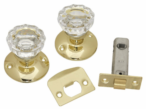 Belwith 1148-PB Passage Door Knob Latch Set, Glass Knobs, Polished Brass