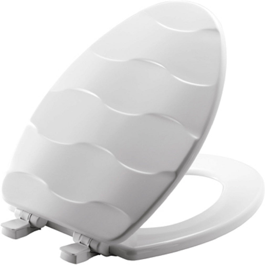 Bemis 133SLOW 000 Wood Sculptured Toilet Seat, Elongated, White