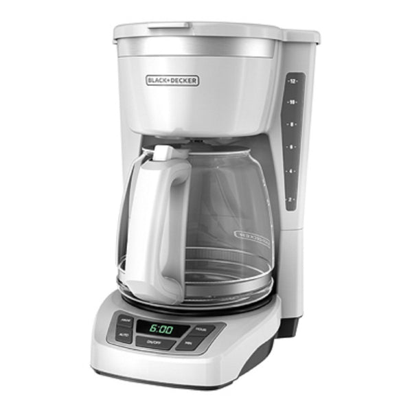 Black & Decker CM1160W Programmable Coffee Maker, White, 12 Cup
