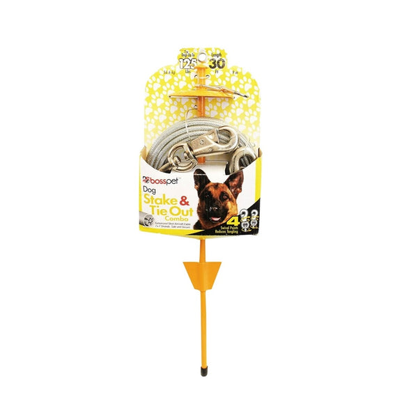 Boss Pet Q5730DOM99 PDQ Tie-Out/Dome Stake Combo, 30 Feet