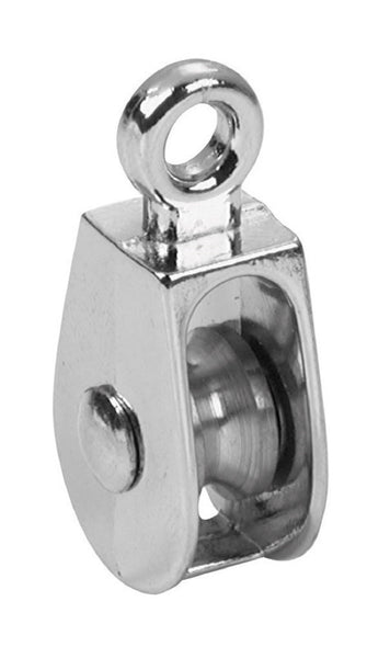 "Campbell T7655112N Single Rigid Eye Rope Pulley, 1"", Nickel"