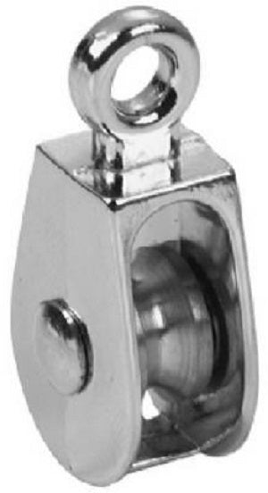 "Campbell T7655062N Single Rigid Eye Rope Pulley, 1/2"", Nickel"