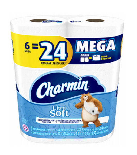 Charmin 60989 Ultra Soft Mega Bath Tissue, White, 185' L
