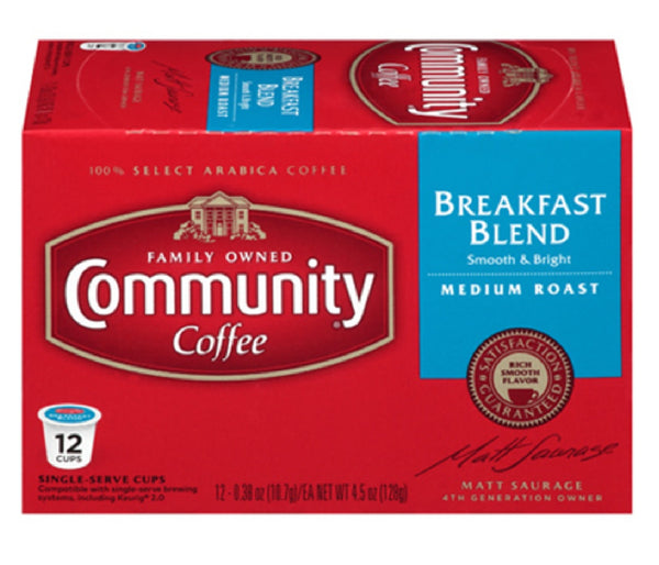 Community Coffee 16263 Breakfast Blend Coffee, 12 Count