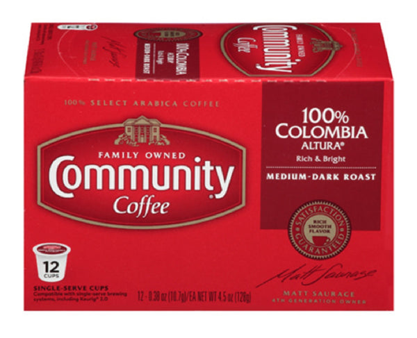Community Coffee 16274 Colombia Altura Coffee, 12 Pack