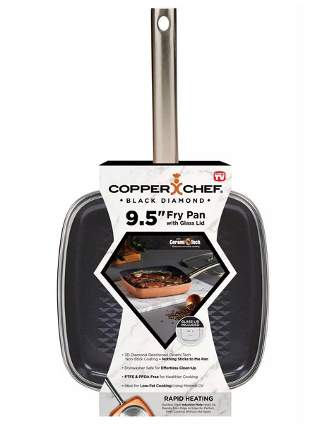 Copper Chef CCBD-9.5L As Seen On TV Black Diamond Square Frying Pan With Lid, 9.5 Inch
