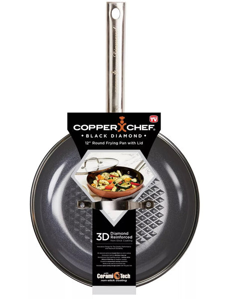 Copper Chef CCBD-12RLID As Seen On TV Round Frying Pan With Glass Lid, 12 Inch