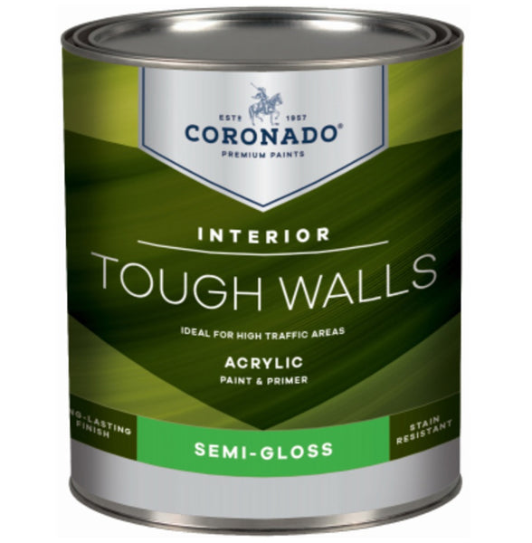 Coronado C22.36.4 Tough Walls Acrylic Latex Interior Paint & Primer, Quart