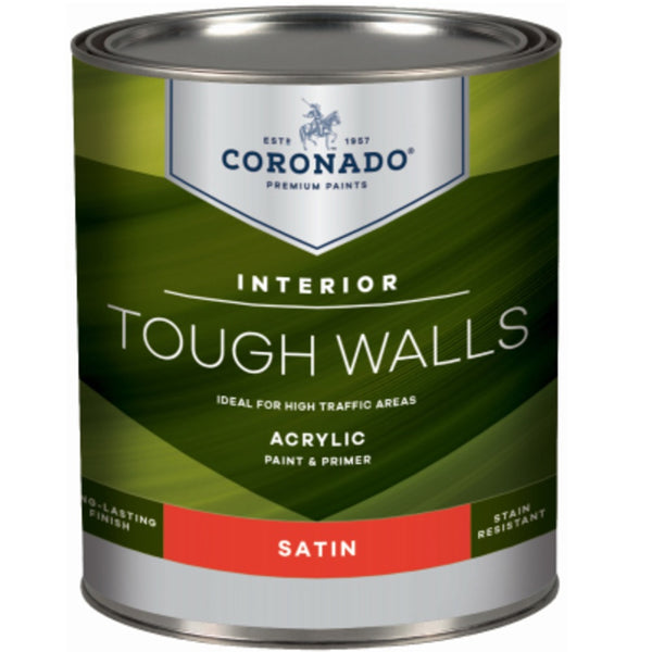 Coronado C60.33.4 Tough Walls Acrylic Latex Interior Paint & Primer, Quart
