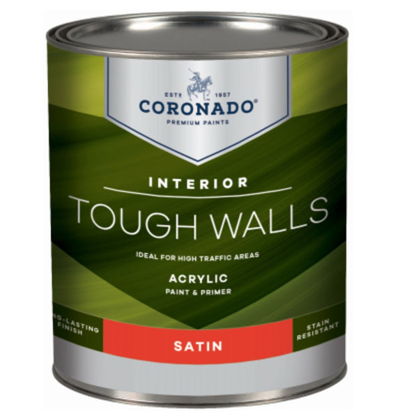 Coronado C60.32.4 Tough Walls Acrylic Latex Interior Paint & Primer, Quart