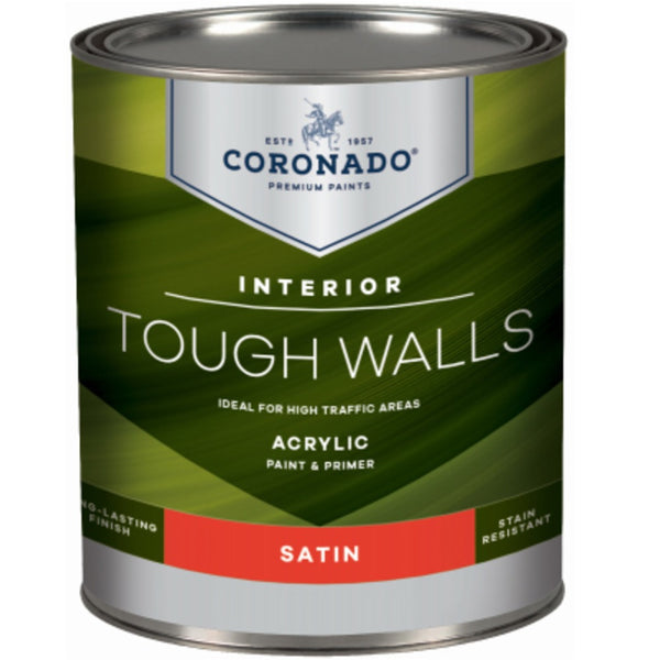 Coronado C60.34.4 Tough Walls Acrylic Latex Interior Paint & Primer, Quart