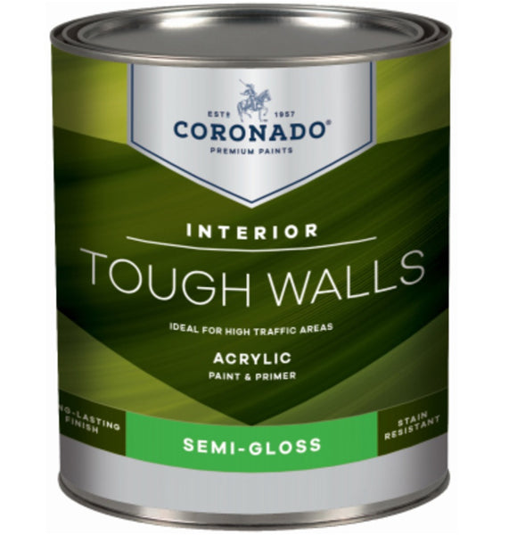 Coronado C22.32.4 Tough Walls Acrylic Latex Interior Paint & Primer, Quart