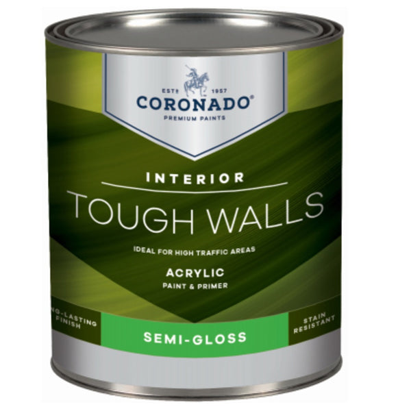 Coronado C22.33.4 Tough Walls Acrylic Latex Interior Paint & Primer, Quart
