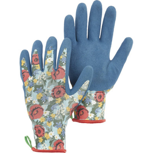 Dalen 72380-569260-08 Textured Sandy Foam Latex Dip Glove, Floral Blue