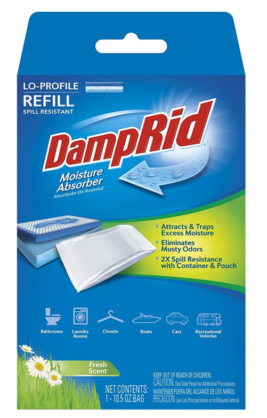 DampRid FG46 Low Profile Moisture Absorber Refill, Fresh Scent, 10.5 Oz