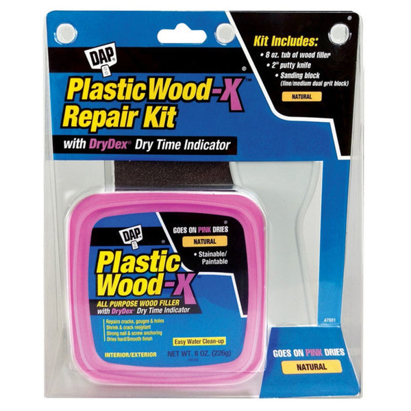 Dap 00596 Plastic Wood-X All Purpose Wood Filler With Drydex Kit, 8 Oz