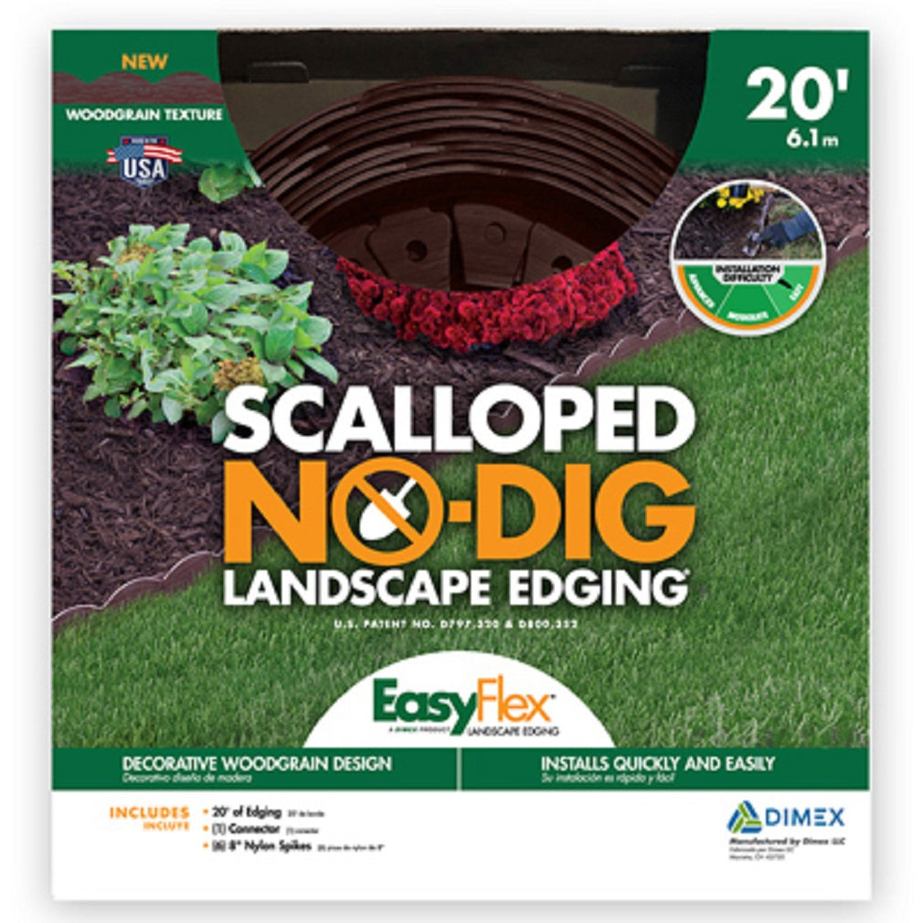 Dimex 3210BRE-20-3 EasyFlex No Dig Scallop Edging Kit, Embossed Brown, 20 Feet